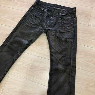 🚚 Dior Homme Jeans黑色刷紋牛仔上膠褲 19cm