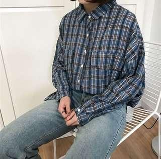 藍色格子襯衫💙💦