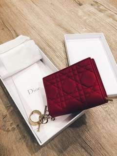 "🚚 Lady Dior Lambskin Wallet - Bright Red ""Cannage"""
