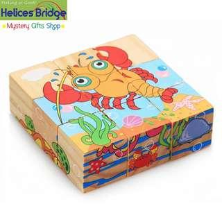 9 Building Block 6 sided Wisdom Jigsaw, Montessori Toys Children Early Educational Learning Toys Tangram Children Game 9pcs Single 3D Puzzle with wooden tray- Marine Life