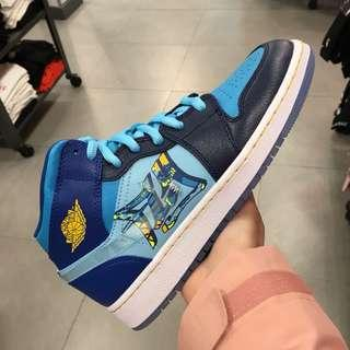 Nike Air Jordan AJ1中幫男女平底耐克飛人喬丹藍色鴛鴦laker