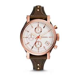 🚚 Original Fossil Women's Boyfriend Chrono White Dial Leather Watch ES3616