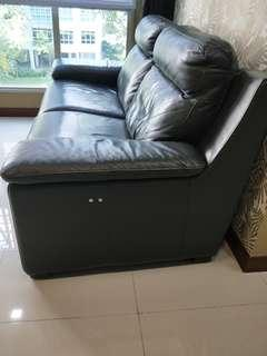 Black Recliner Full Leather Sofa (nego)