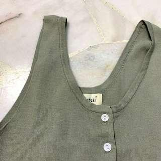 🚚 Olive ribbed button top