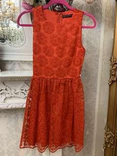 BN ZARA RED CROCHET LACE DRESS
