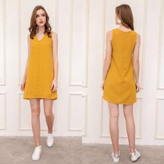 bba27cb3008a The Stage Walk Evon Button Down Trapeze Dress in Mustard Yellow
