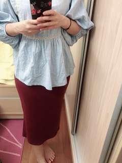 酒紅包臀長裙