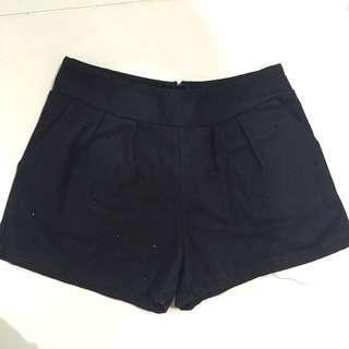 Black tiny pearl shorts