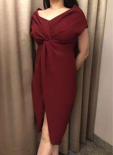 Dress pesta Merah bahan bagus