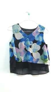 Sleeveless Floral Crop Top blouse #APR75