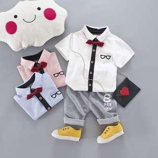 Gentle Baby Boy Style T-Shirt + Shorts Pants Outfit 2pcs Set Clothes Size.6M-3T