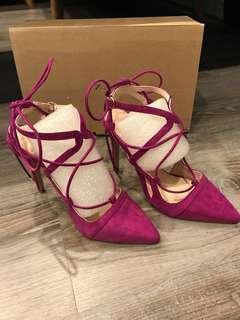 ZARA 全新桃紫色綁帶高根鞋 出清價450元 原價1490元