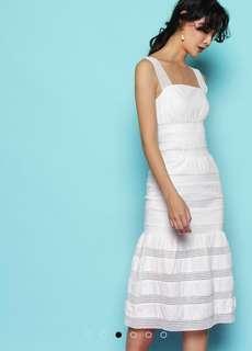 BN Soeurs white mesh panel mermaid hem peplum dropwaist midi dress
