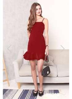 BNWT ACW Anticlockwise double flounce hem peplum dress - wine red