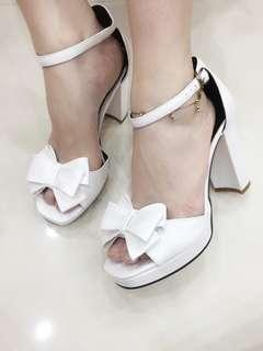 White Ribbon Peep Toe Sandals size 34 and 38