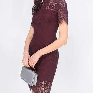 BN Fayth Madelyn High Collar Lace Dress size L plum red