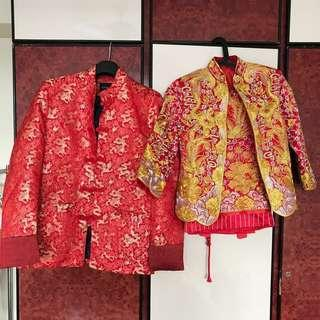Wedding tea ceremony traditional gold embroidery kua