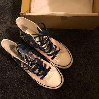 moomin魯魯米 夢幻星空 紫粉藍 高筒帆布鞋