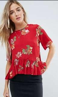 🚚 ASOS Red Floral Top