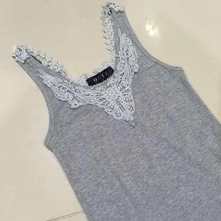 Grey lace singlet top