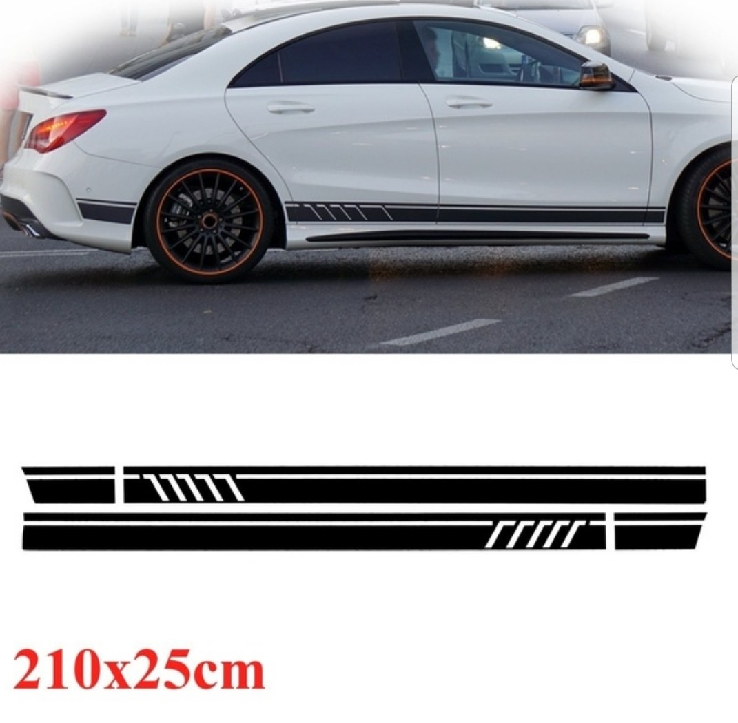 2 Pcs Edition1 Style Stripes Sticker For Mercedes Benz Cla 45 W117 C117 X117 Amg Excellent Quality In