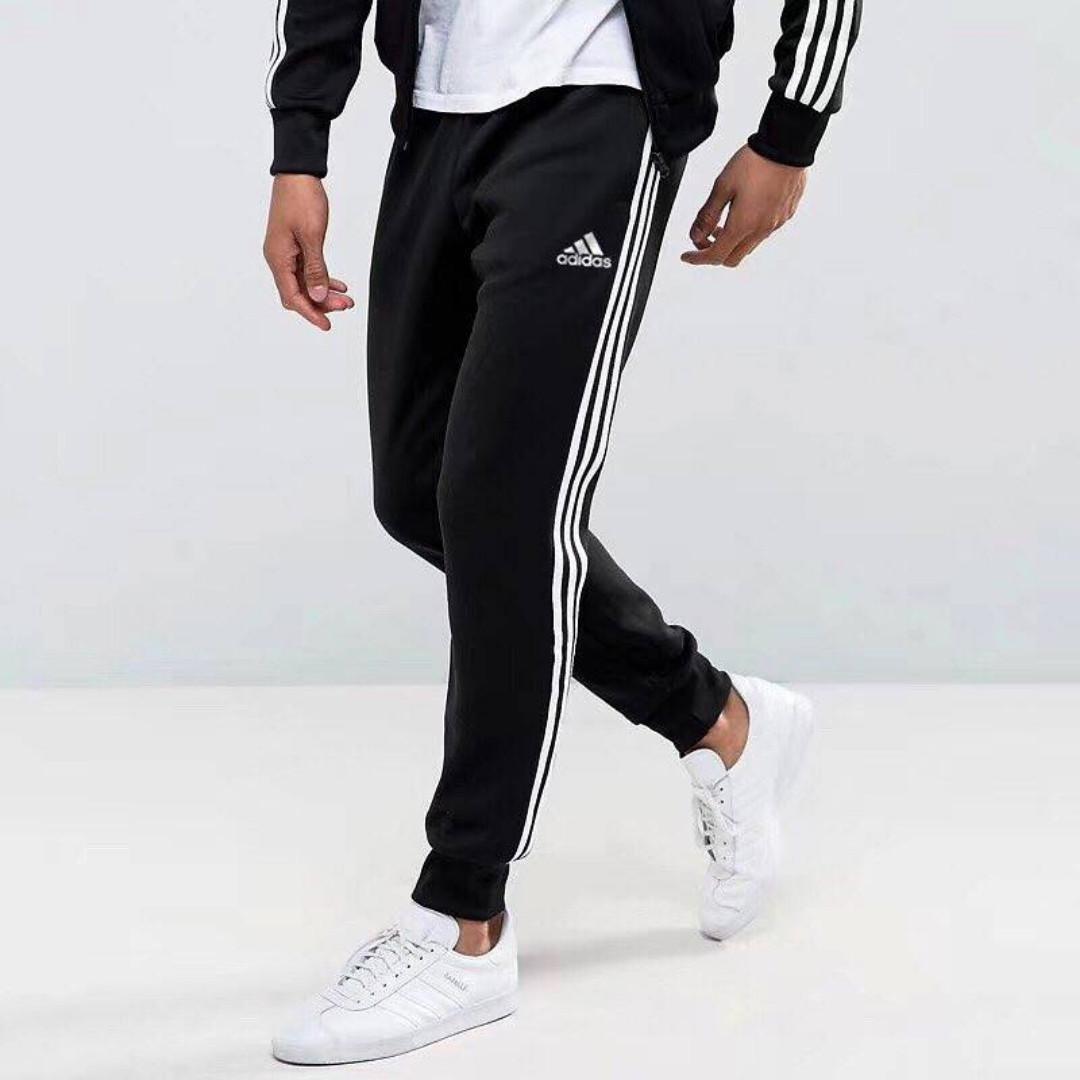 Adidas Men's Black Track Pants (Cuffed & Uncuffed), Men's