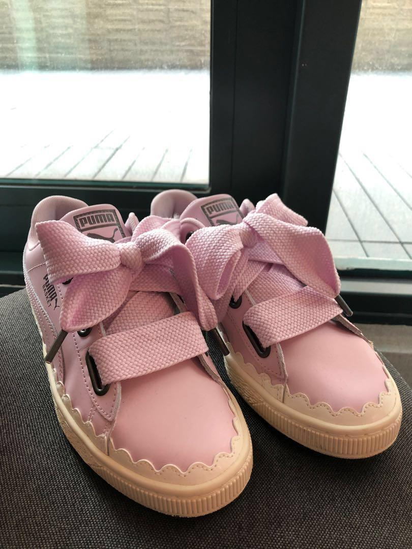 145b9e827f5 Almost New PUMA Pink Large Shoelace Sneakers (extra ribbon shoelace ...