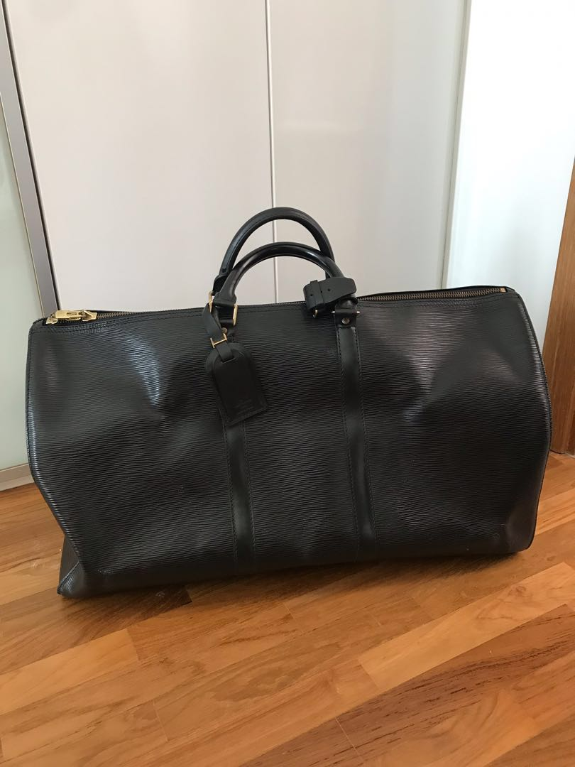 dd29b36c5 Authentic LV Keepall 55 epi leather in black, Luxury, Bags & Wallets,  Handbags on Carousell