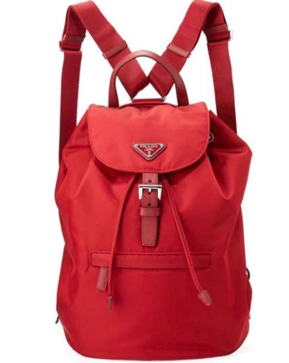 ece0233e5e6556 Authentic Prada Red vela drawstring bag, Women's Fashion, Bags ...