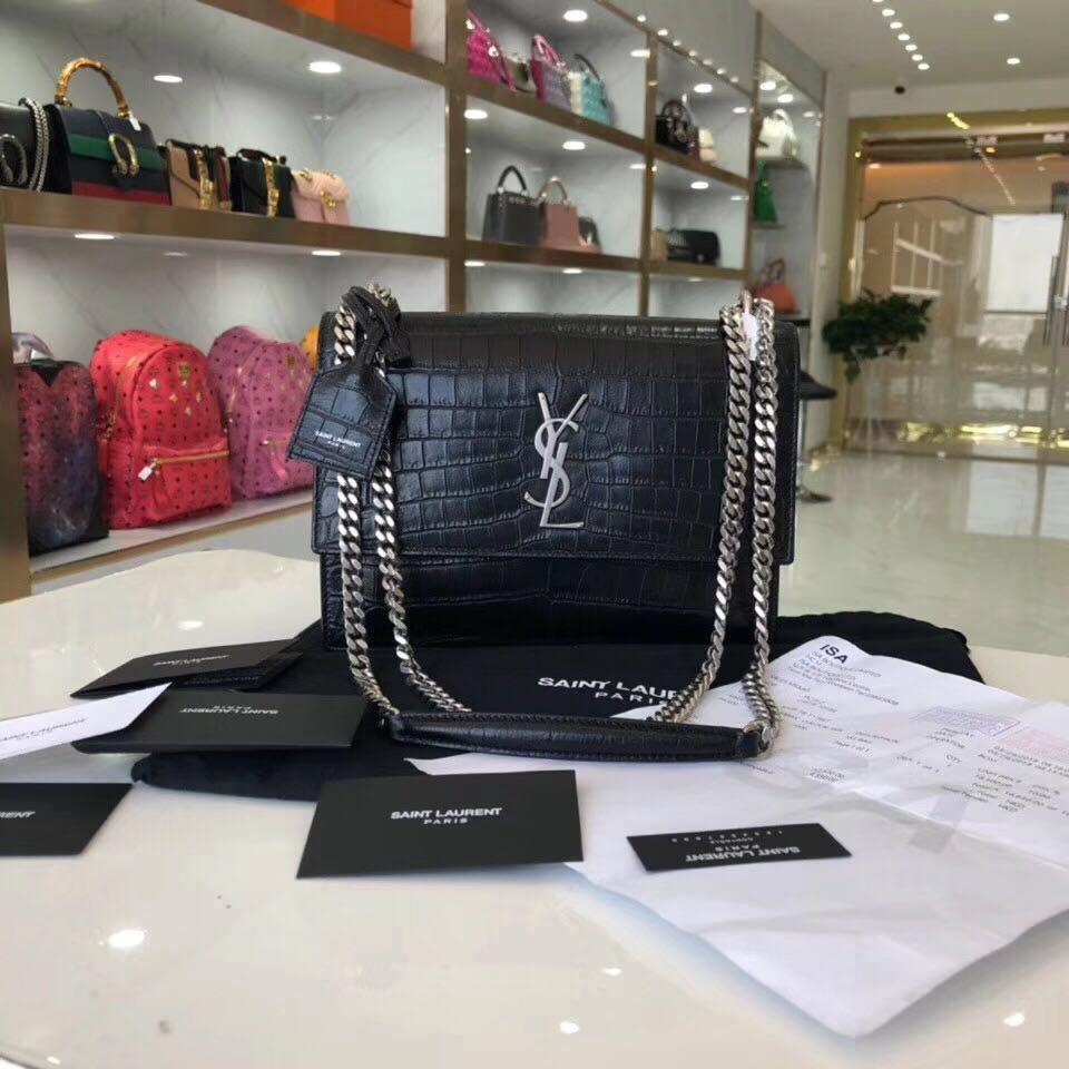 Authentic Pre-loved YSL Saint Laurent Sunset in Black Croc Embossed Matte Leather