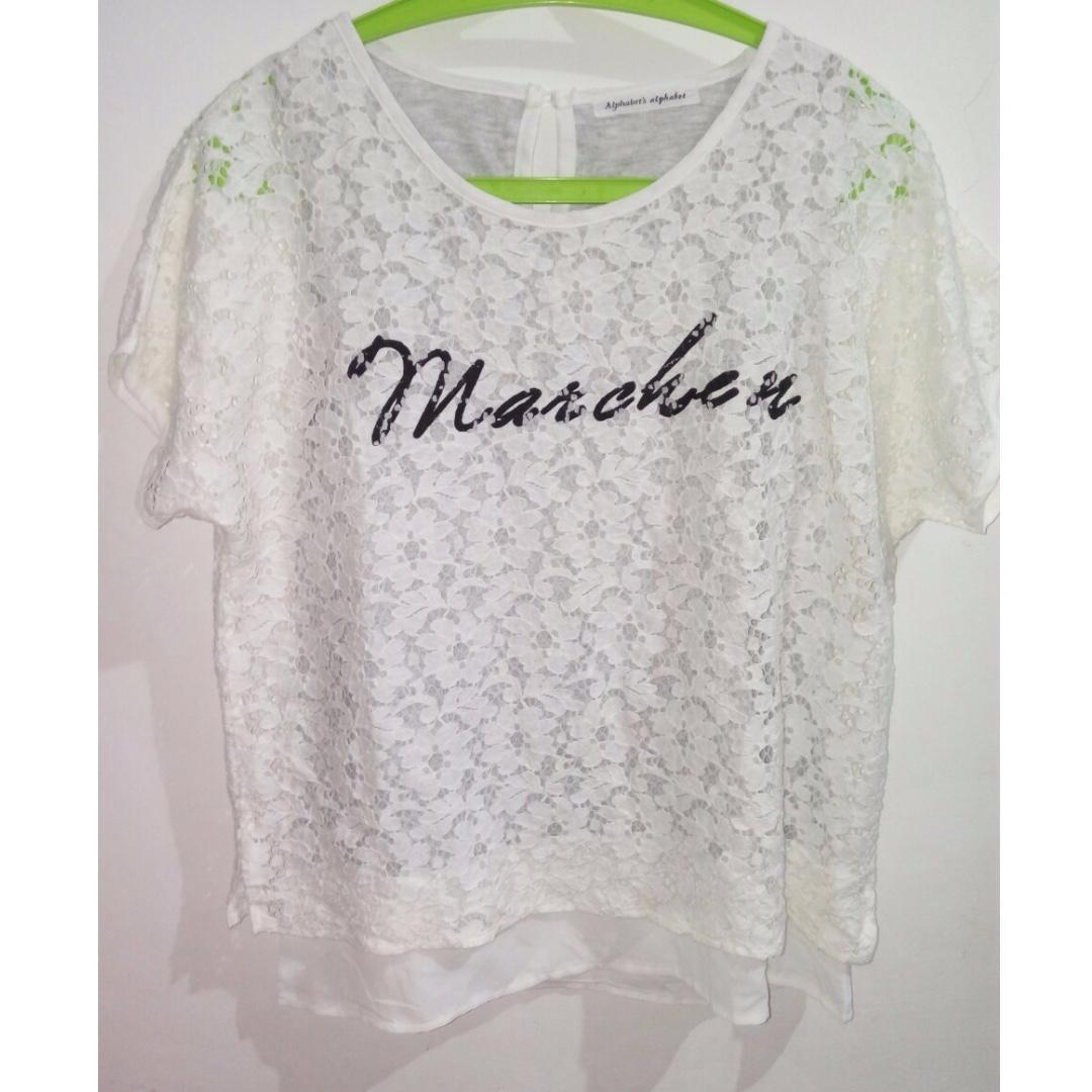 Baju putih motif bunga