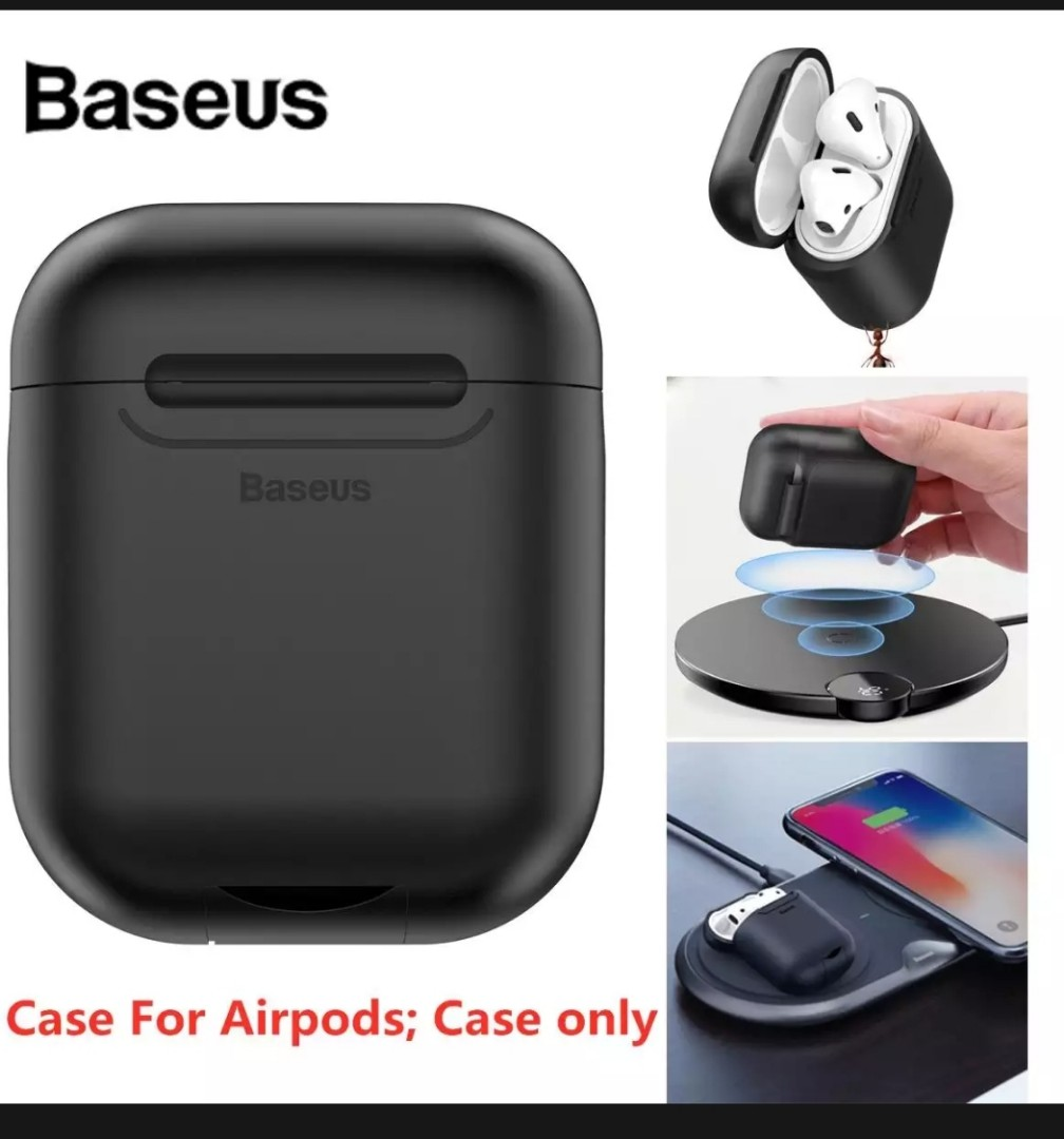 super popular e674d 9c989 BASEUS Wireless Charger Case 5V/1A for AirPods Anti-Knock Silicone  Protective Cover For Airpod