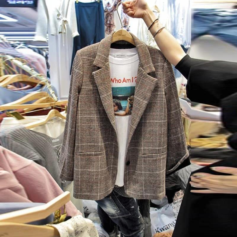 Beige Checked Women Blazer Coat