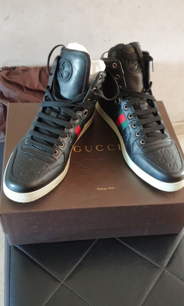 6782e9006 BNIB Gucci High Top Mens Guccisima Leather Shoes, Luxury, Shoes on ...