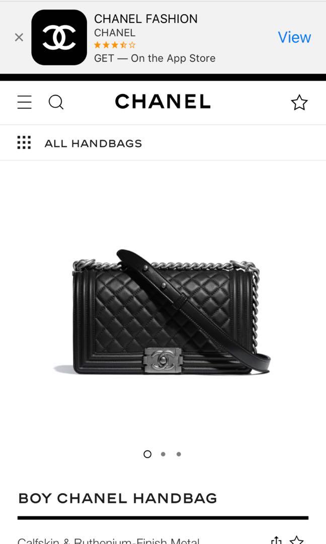 6d0c19696832 BOY CHANEL Handbag Calfskin & Ruthenium-Finish Metal Black 14.5 × 25 ...