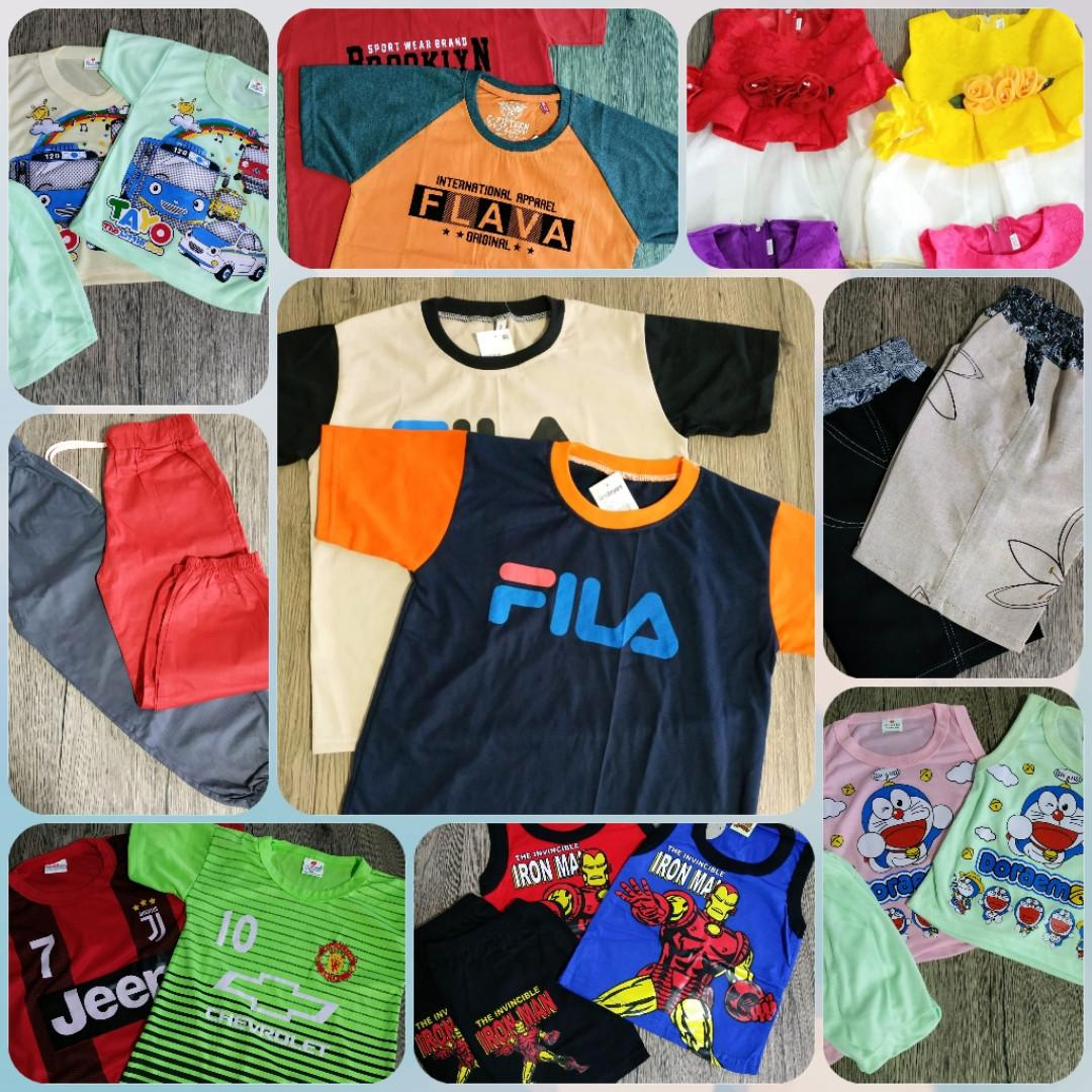 Brand New Clothing for Babies & Kids! Singlet sets, T-Shirt set, Polo Ts, Jersey sets, Bermudas, Jogger Pants, Dresses.