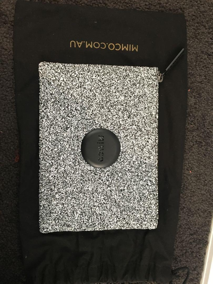 Brand New Mimco Black and White Glitter Pouch