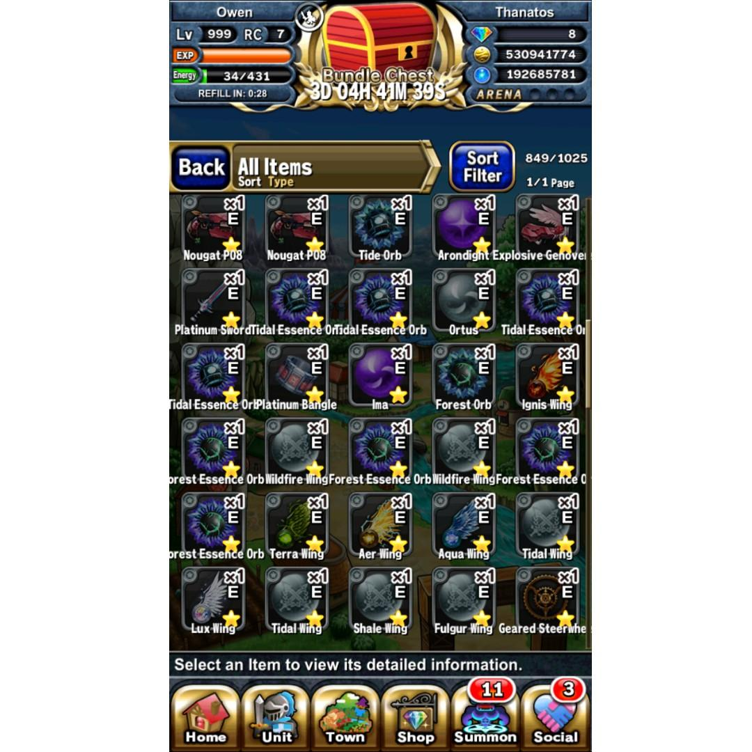 Brave Frontier End Game Account LVL 999, Toys & Games, Video