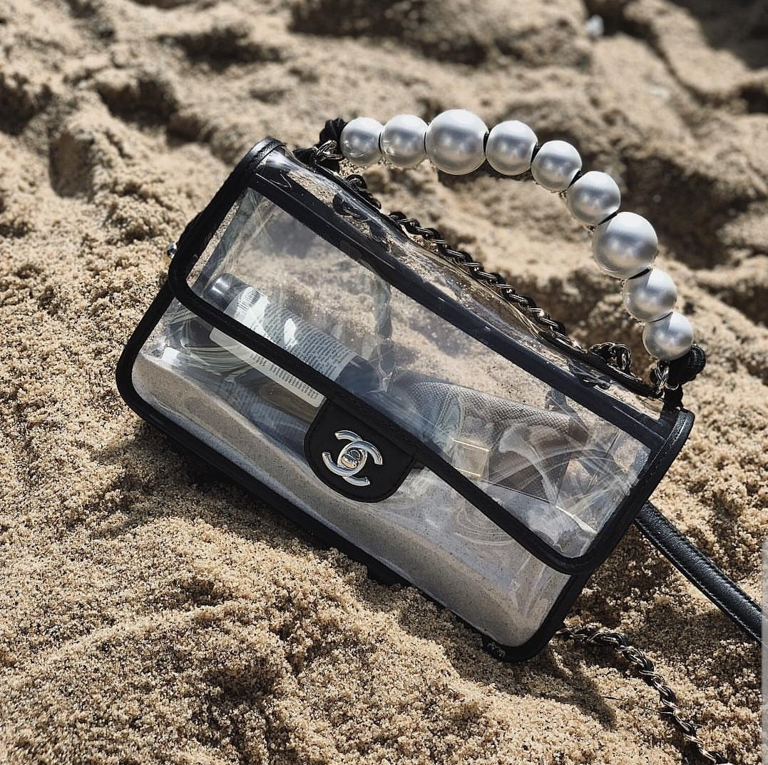788b3f77b Chanel by the Sea SS19 Transparent PVC Sand Pearl Medium Flap Bag ...