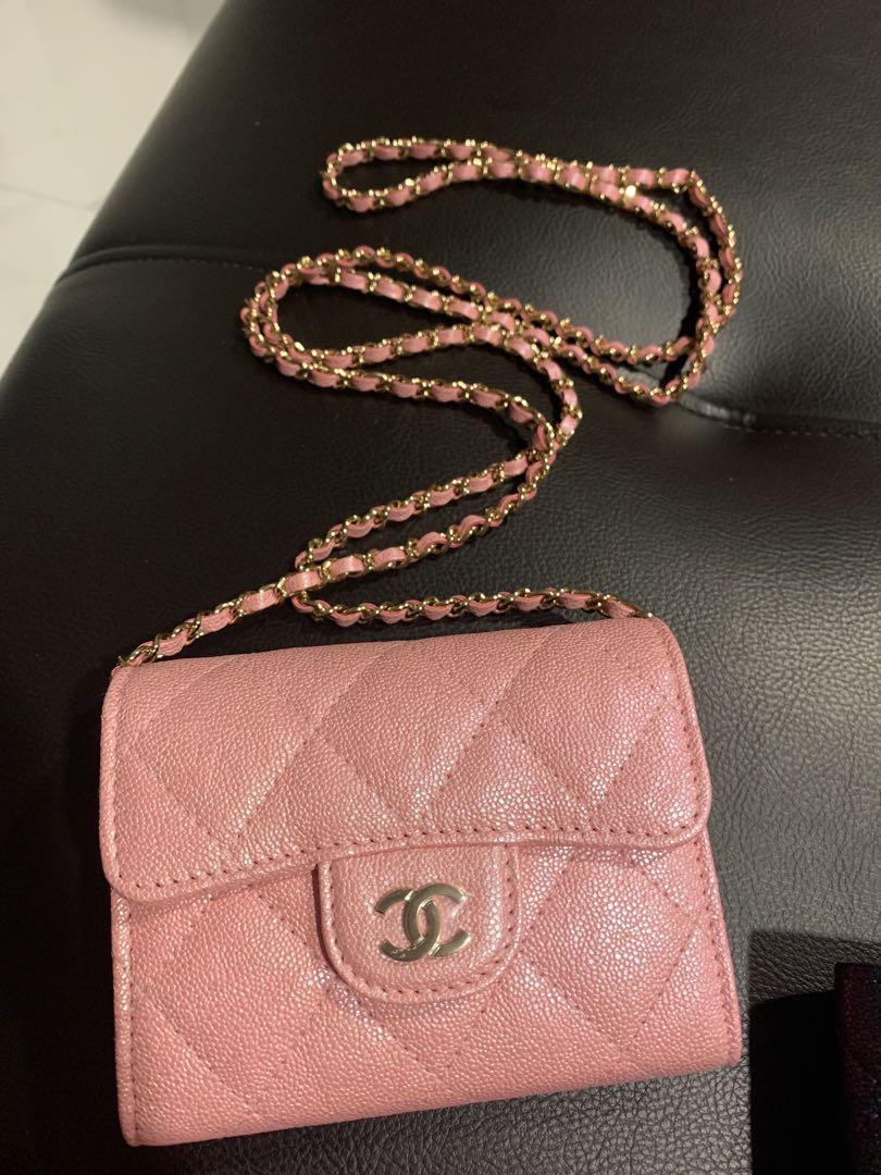 4203971456 Chanel iridescent 19s pink wallet on chain woc, Luxury, Bags & Wallets,  Wallets on Carousell