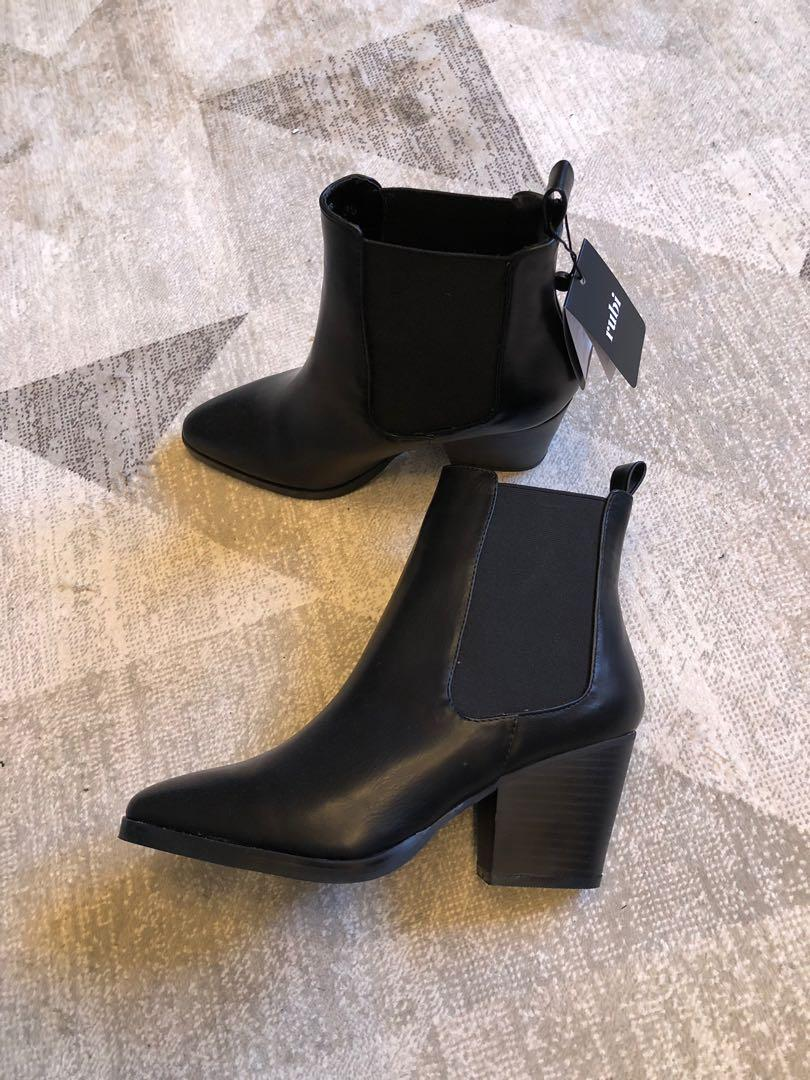 Faux leather black booties (women's 8)