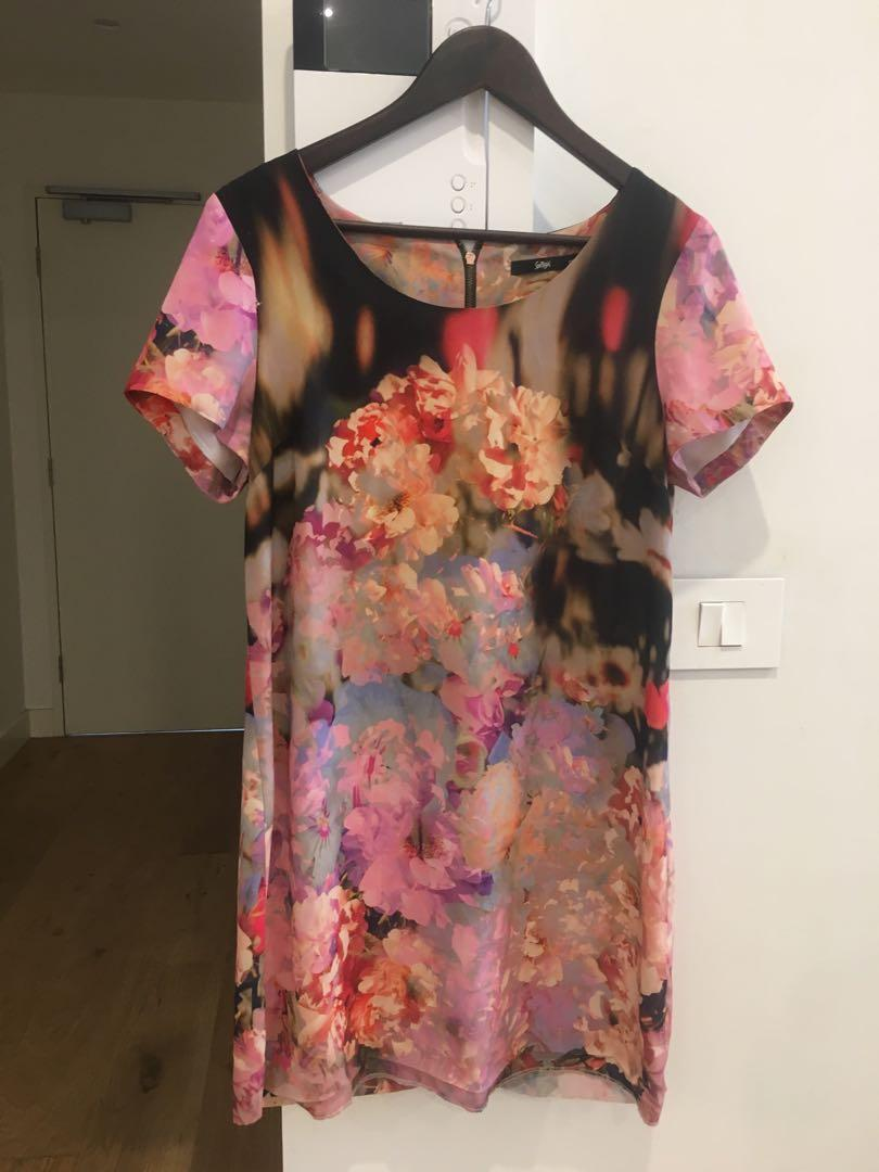 Floral dress with rose gold detail