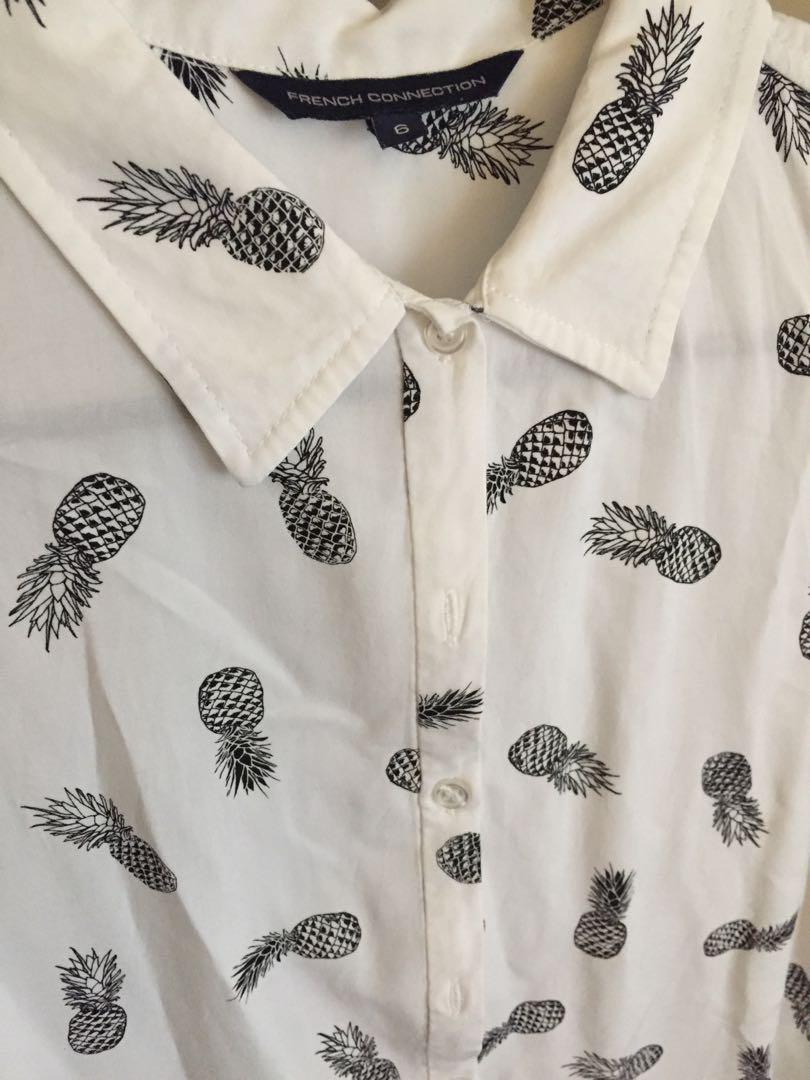 French connection pineapple short sleeve button up top