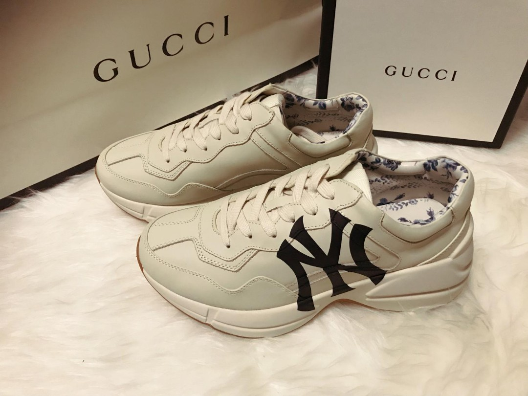 c24f0ad61ca Gucci Men's Rhyton sneaker with NY Yankees print, Men's Fashion ...