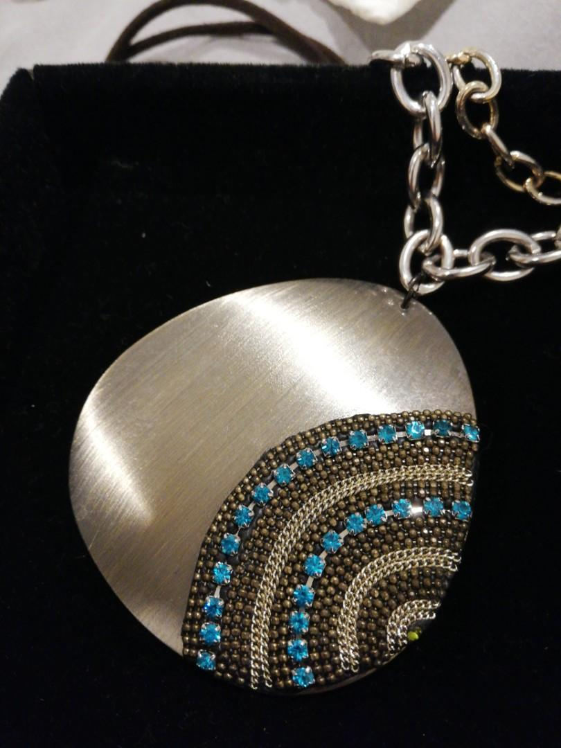 Guess blue stone pendant gold & silver chain necklace