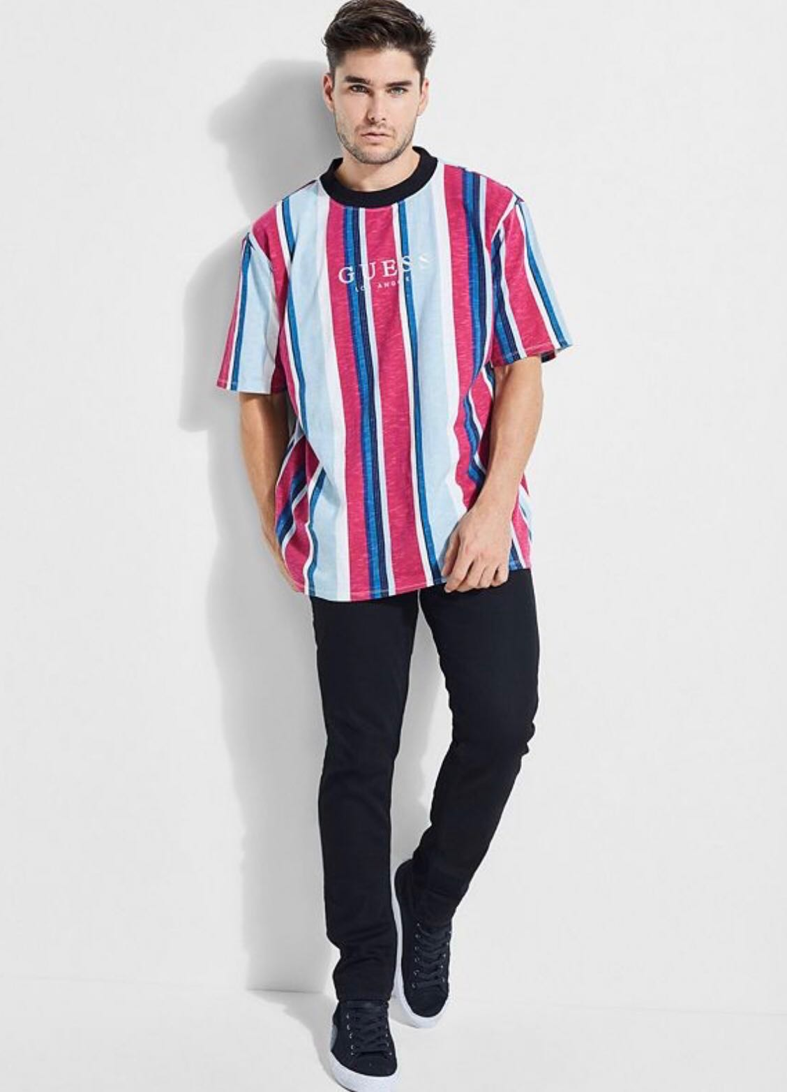 0765cbd773 Guess David Sayer Striped Tee, Men's Fashion, Clothes, Tops on Carousell