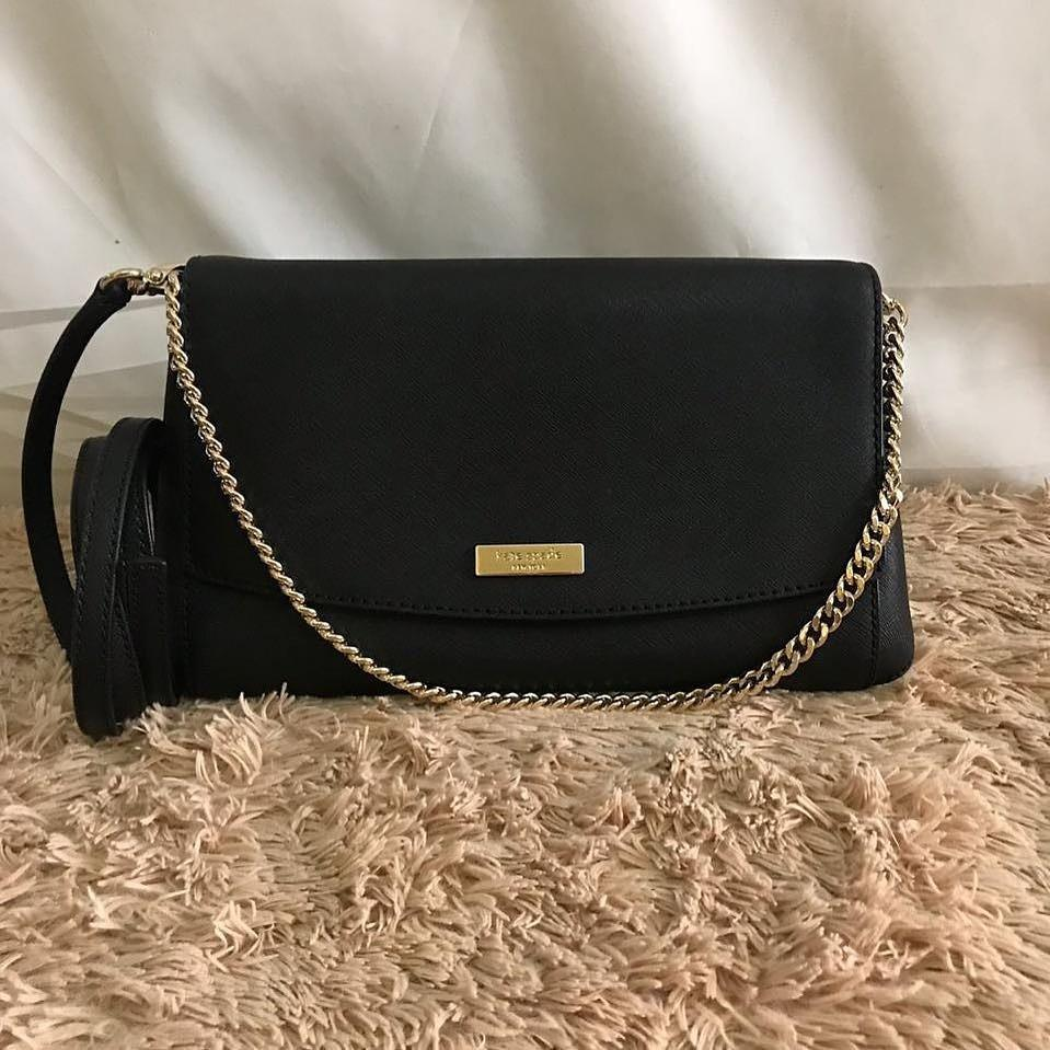 Kate Spade Greer Laurel Way BLACK (with short chain and long leather strap 🧡😍)