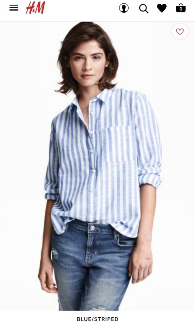 Kemeja strip biru H&M