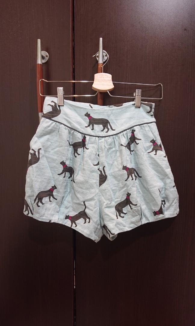 二手極新轉賣日本專櫃品牌lily brown水藍色貓咪套裝 連身褲