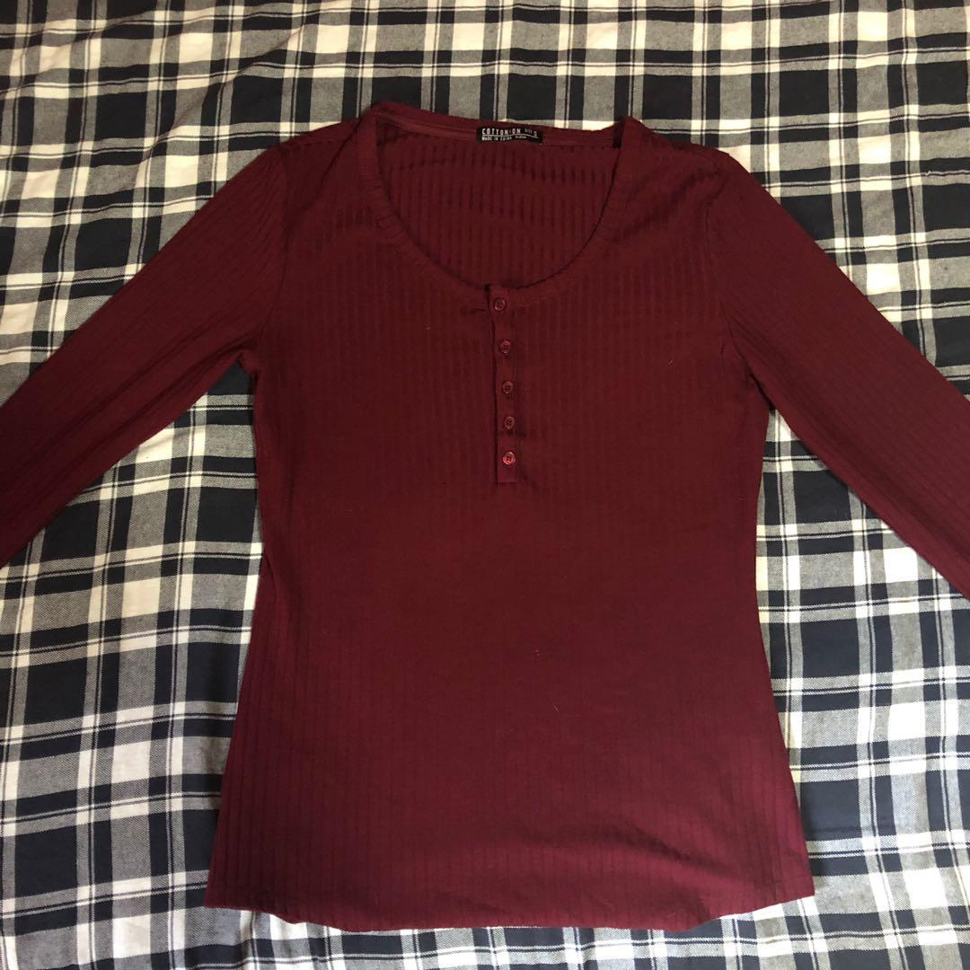 maroon button up top
